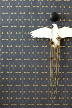 Bows Wallpaper, Gray - contemporary - wallpaper - Hygge & West