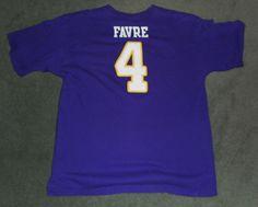 Men's Purple, White MINNESOTA VIKINGS #4 FAVRE NFL Crew Neck Shirt, Size L, GUC! #Reebok #MinnesotaVikings