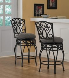 @Overstock - Comfortable and supportive, these padded wrought iron counter stools are equipped with a 360-degree swivel. Ideal for the kitchen and great in the bar, these classic stools invite friendly conversation and long, leisurely relaxation.http://www.overstock.com/Home-Garden/Chase-24-inch-Swivel-Counter-Stools-Set-of-2/4196780/product.html?CID=214117 $179.99