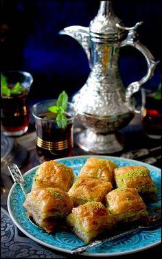 Baklava - Sweet Baklavas and strong Arabic tea… Arabic Tea, Arabic Food, Arabic Sweets, Tea Recipes, Dessert Recipes, Cooking Recipes, Gourmet Desserts, Plated Desserts, Cake Recipes