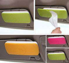 Sun Visor Tissue Box - I know we all have tissue boxes in our cars but most people have them on the back seat with a fancy case but we have found unless you have chauffeur driven cars it doesn't make sense for the rest of us. It becomes especially cumbersome if you need it when you are in the driver's seat. This tissue holder fits neatly on the sun visor so you can easily pull one out right when you need it.