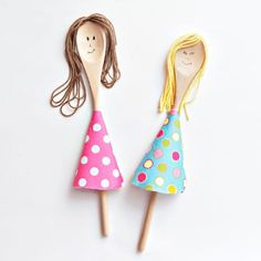 Simple puppets made from spoons: Wooden spoon dolls