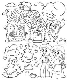 Nursery Rhyme Crafts, Nursery Rhymes, Fairy Tale Activities, Activities For Kids, Coloring Pages For Kids, Coloring Books, Hansel Y Gretel, Drawing Stencils, Lol Dolls