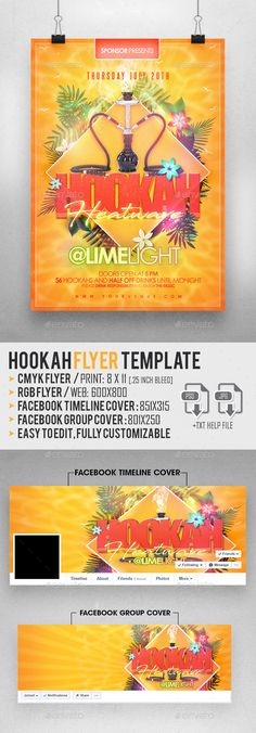 Hookah #Flyer Template - Clubs & #Parties #Events Download here: https://graphicriver.net/item/hookah-flyer-template/20018690?ref=alena994