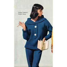 Bulky Pullover Knitting Pattern with Large Collar | Vintage Knit Crochet Pattern Shop