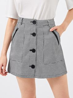 To find out about the Button Up Houndstooth Skirt at SHEIN, part of our latest Skirts ready to shop online today! Midi Skirt Outfit, Casual Skirt Outfits, Dress Skirt, Casual Dresses, Skater Skirt, Short Skirts, Mini Skirts, Houndstooth Skirt, Skirts With Pockets