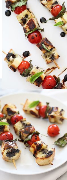 My favorite caprese salad gets skewered on the grill and drizzled with balsamic glaze