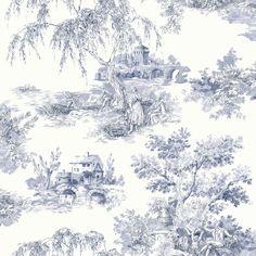 Ideco - Tapisserie Papier Peint Toile de Jouy - Campagne Provencale - Bleu / crème - 922060: Amazon.fr: Cuisine & Maison