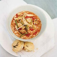 """Jess Jackson asks for this ersatz gumbo every time he visits his Kentucky farm. """"He always says, 'We should have this once a week,' """" Huffman says. """"Then, when he's about halfway through the bowl -- 'OK, twice a week.' It's not authentic gumbo, but Creole flavors have crept up to Kentucky."""""""