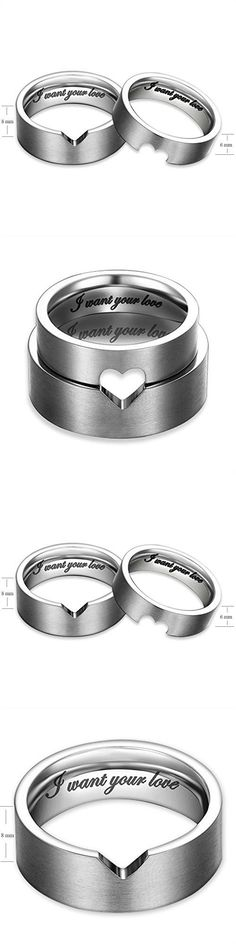 """I Want Your Love"" Hollow Matching Heart Flat Couple Rings Mens Womens Stainless Steel White Wedding Bands, Christmas Gift for Boyfriend/girlfriend, Valentine Engagement Promise Matching Wide Rings, Tail Ring Thumb Ring (6mm, 8mm) (Size:10.0 (8mm Width))"