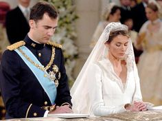 Felipe, Prince of Asturias marrying Letizia. Now King & Queen of Spain.