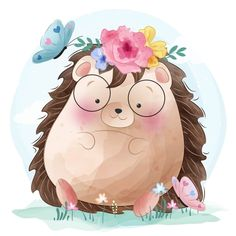 Cute Hedgehog And Butterflies Cartoon Cartoon, Colorful Drawings, Cute Drawings, Cute Pink Background, Background Images, Scrapbooking Image, Baby Animals, Cute Animals, Animal Graphic