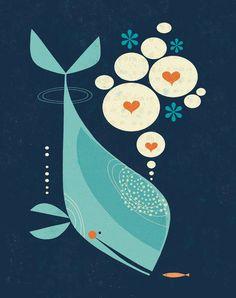 Whale Art Print for Children's Decor, Nursery Decor or Nautical Theme. Original artwork by Walker Art And Illustration, Gravure Illustration, Animal Illustrations, Whale Art, Grafik Design, Art Design, Retro Design, Nautical Theme, Oeuvre D'art