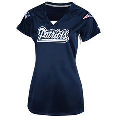 @Fanatics ® #FanaticsWishList  New England Patriots Ladies Draft Me V Shimmer Top - Navy Blue