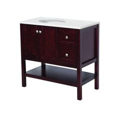 St. Paul Sydney 36 in. Vanity in Dark Cherry with Stone Effects Vanity Top in Cascade-SY36P2COM-DC at The Home Depot