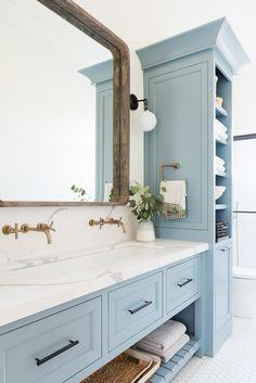 Studio Mcgee, Bad Inspiration, Bathroom Inspiration, Bathroom Vanity Cabinets, Bathroom Storage, Bathroom Organization, Bathroom Mirrors, Master Bathrooms, Small Bathrooms