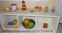 The Montessori on a Budget blog: What's on our Montessori Baby Shelves at 10 months