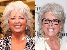Paula Deen shows off one of the cute gray hairstyles for older women.
