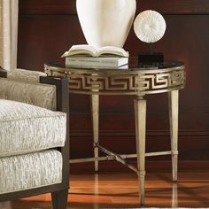 Tower Place Contemporary Aston Round Lamp Table with Greek Key Motif by Lexington at Baer's Furniture Lexington Home, Family Room Design, Art Deco Period, Greek Key, End Tables, Table Lamp, Contemporary, Tower, Furniture