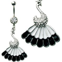 Multi Jewel Peacock Black & WhiteTail Dangle Belly Ring Surgical Steel