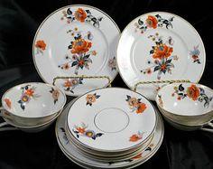 Limoges , Vaisselle en Porcelaine , Art Déco , Tasse de Thé et Soucoupe , Assiettes à Dessert , TLB , Orange Noir et Or