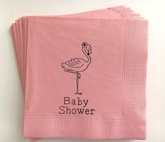 Flamingo Baby Shower Cocktail Napkins Set of 50 by WithLoveAndInk