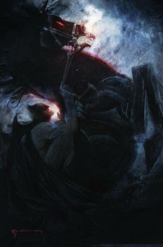 Variant cover art to Dark Knight III: The Master Race #1 (2015), by Bill Sienkiewicz