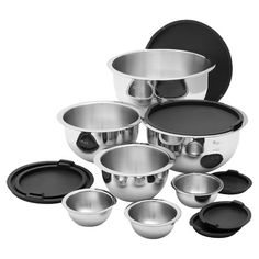 Fourteen-piece stainless steel mixing bowl set with interior measuring marks. Product:   3 Extra small bowls with lids  Joss and Main ...