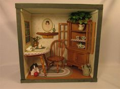 Dining Room Shadow Box / Room Box by HelenAnnOriginals on Etsy, $39.00