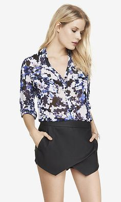 BLUE FLORAL CONVERTIBLE SLEEVE PORTOFINO SHIRT