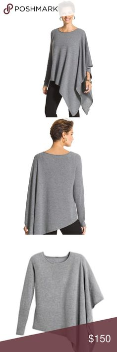 """Chico's Black Label Asymmetrical Cashmere Sweater Chico's Black Label Asymmetrical Cashmere Sweater.  Drape yourself in this luxe cashmere sweater. The asymmetrical design includes one side with a single long sleeve and the other side with a poncho-style, sleeveless design. Size 2 (12/14) M  - Cathedral Heather Gray - NWOT * Individual style. Clean, modern lines. The exclusive Black Label by Chico's™ collection. * Pull-on styling. * Left side: 32"""". Right side: 24.5"""". * Cashmere. Chico's…"""