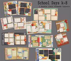 School Days Kindergarten through Eighth Grade Pre-made scrapbook pages, just add your photos. Easy scrapbooking for anyone! Quick pages are the way to go to scrapbook your memories! Scrapbooking Journal, Scrapbooking Digital, Paper Bag Scrapbook, Scrapbook Supplies, Scrapbook Organization, School Scrapbook Layouts, Scrapbook Titles, Scrapbook Templates, Scrapbooking Layouts