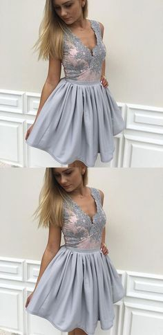 2018 New Grey Lace V Neck Off the Shoulder Cute Homecoming Dress Short Prom Dresses Party Gowns,Graduation Dress