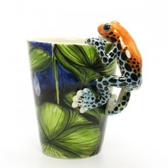 Poison Dart Frog Mug Decorative Mug Handmade Collectibles Gifts 0018 Poison Dart Frogs, Frog Crafts, Animal Mugs, Frog Art, Frog And Toad, Handmade Home Decor, Pottery, Hand Painted, Creative
