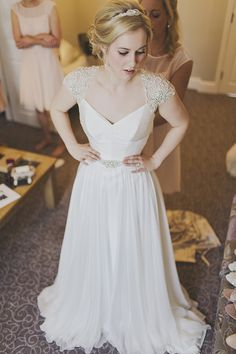 Suzanne Neville Cherish Bride Bridal Dress Gown Romantic Embellished Belt Sleeves Whimsical Enchanted Woodland Twilight Wedding http://www.tracywestonphotography.com/