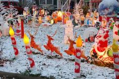 Plastic Blow Mold Christmas Decorations: Blow Molds Glow in the Snow