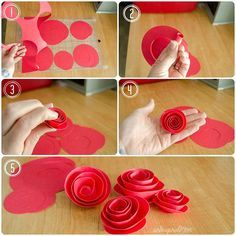 DIY Paper Rosette Wreath - includes free cut file for Silhouette users, but can also be made easily by hand! | #valentines #wreath #rosettes