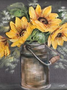 Oil painting Flowers art easy sunflower canvas painting palette knife flowers tranquil wall art black and white flower wall art Sunflower Canvas Paintings, Oil Painting Flowers, Painting & Drawing, Knife Painting, Art Floral, Autumn Painting, Rustic Painting, Sunflower Art, Learn To Paint