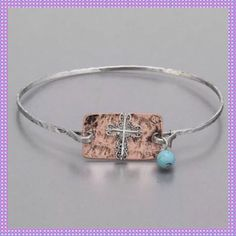 Silver Bangle With Copper Plate & Cross
