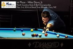 1st Place Mike Davis, North Carolina State 8 Ball Championship Results | Nov. 5-6, 2016 at Breaktime Billiards in Cary, NC - vikingcue.com