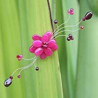 Garnet brooch, 'Raspberry Bouquet' by NOVICA