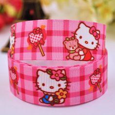 "7/8"" 22mm Hello Kitty Cartoon Printed grosgrain ribbon party decoration satin ribbons DIY Hairbow sewing supplies 10Y X-00017"