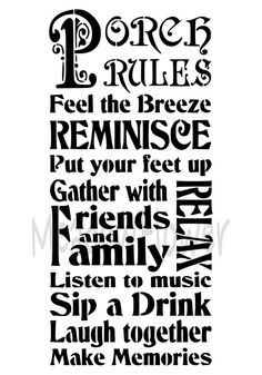 Porch Rules Make Memories Shabby Chic by MeadowFlowerDesigns