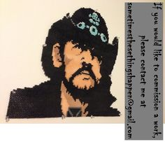 Bust of Lemmy from Motorhead (RIP) made out of perler beads