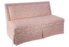 "Lela  60"" Skirted Settee, Pink Polka Dot"