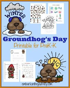 Embark on the Journey has a fun new Groundhog& Day learning pack. This free printable pack will keep your PreK-Grade 1 kiddos enterta Preschool Groundhog, Groundhog Day Activities, Free Preschool, Preschool Lessons, Preschool Activities, Preschool Winter, Spring Activities, Ground Hog Day Crafts, Tot School