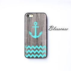 Vintage Grunge Mint Anchor and Chevron on Dark Wood IPHONE CASE iPhone 5c iPhone 5s iPhone 5 iPhone Cover For 4 4s Samsung Galaxy S4 S3 Case...