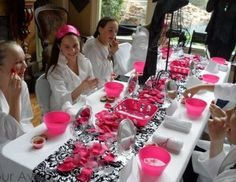 "Spa Party / Birthday ""Pink, Black, and White Damask Party"" 