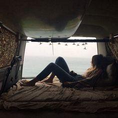 In a hippie van