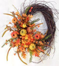 Fall Wreath, Autumn Wreath, Pumpkin Wreath, Birch Wreath, Fall Door Décor, Fall Floral, Wreath, Hydrangea, Harvest Wreath, Pumpkins by CrookedTreeCreation on Etsy